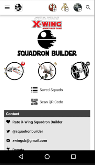 X-Wing Squadron Builder- screenshot
