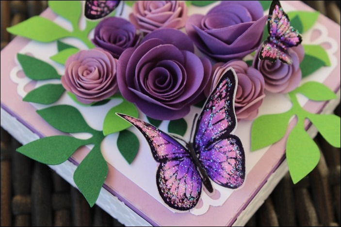 Explosion Box Wedding Purple Glitter Butterflies 04