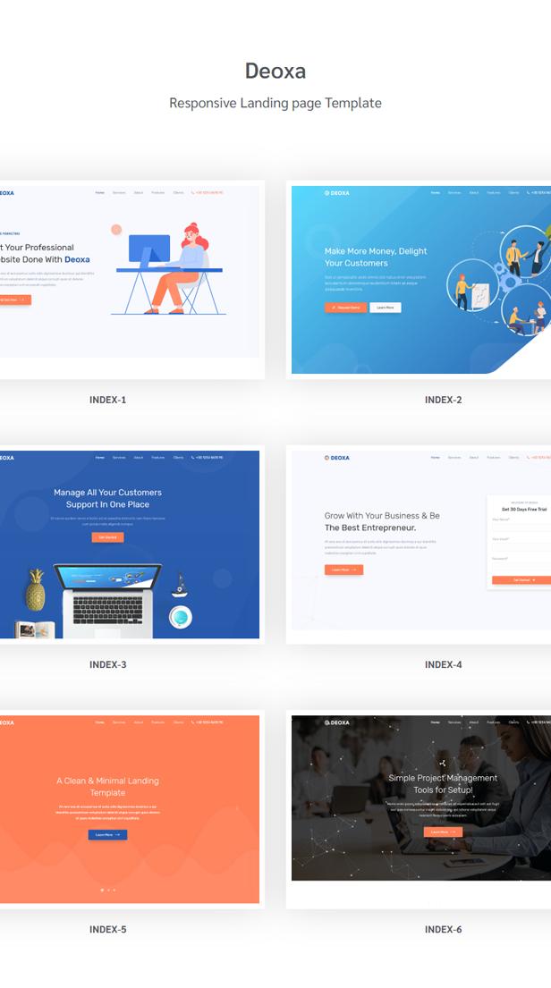 Deoxa - Angular 10 Landing Page Template - 1