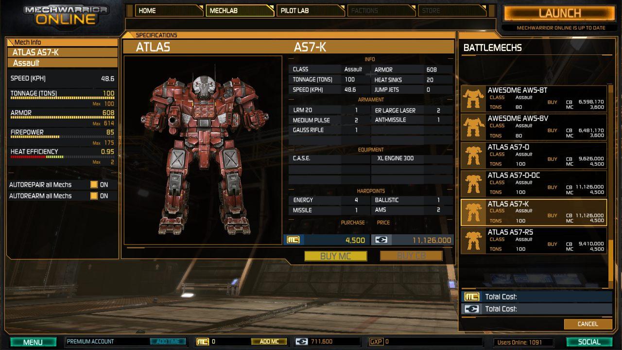 Mechwarrior online mech credits