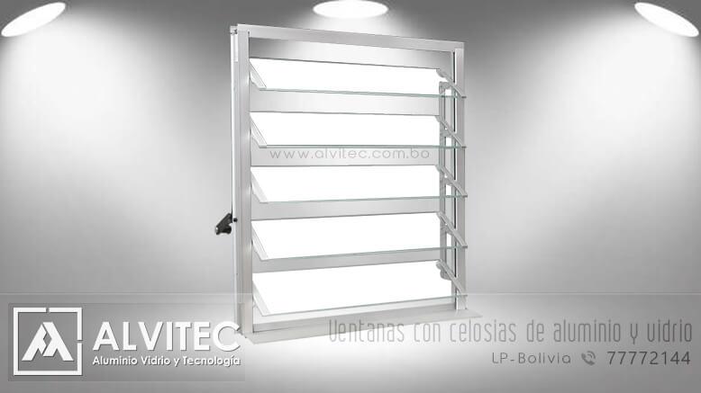 Ventanas celosías en vidrio y aluminio