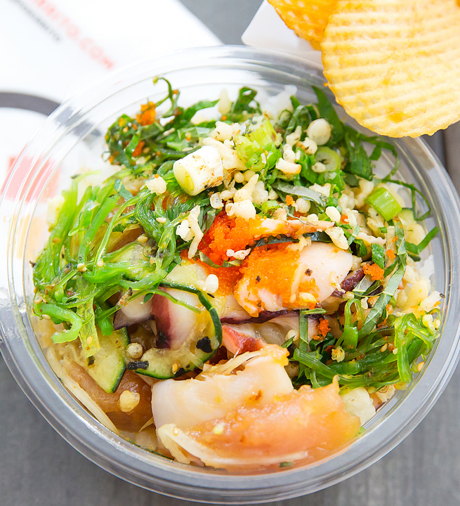 overhead photo of an octopus poke bowl