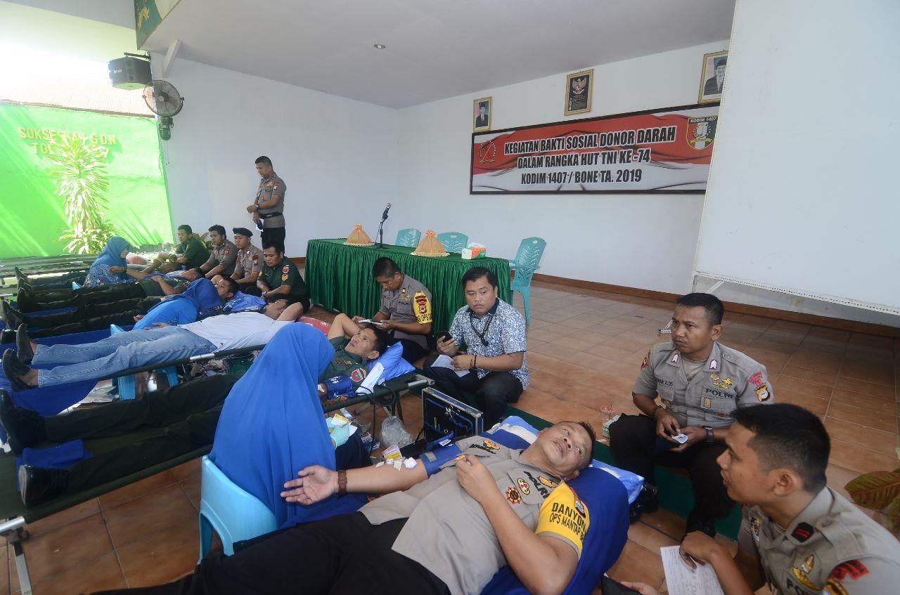 Peringati HUT TNI ke 74, Danyon C Pelopor Sat Brimob Donor Darah