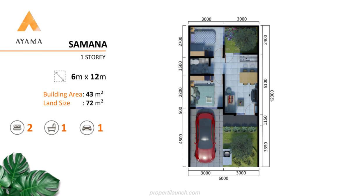 Denah Rumah Ayama Bhumi Amala Tipe Samana 1 Lantai