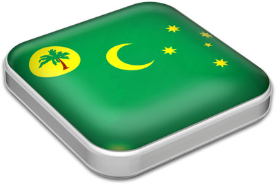 Flag of Cocos Islands with metallic square frame