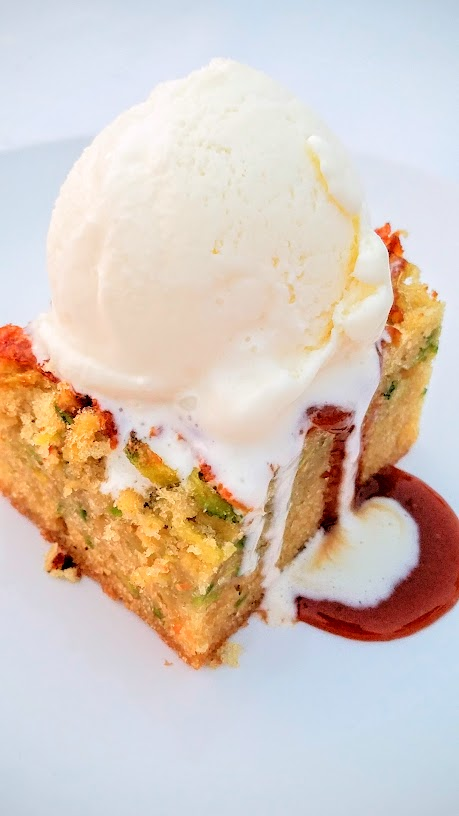 Plate and Pitchfork, bringing farm to table dinners during the summer in Portland where guests dine al fresco on farms. Zucchini olive oil cake with cream cheese ice cream and Riesling caramel with Marigold Coffee