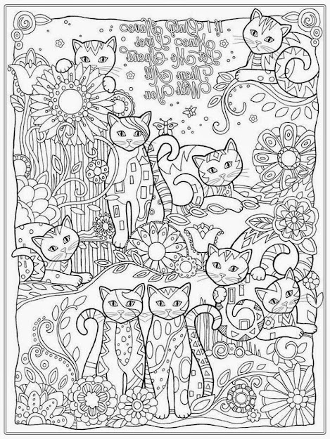 Cat Coloring Page For Adults  Adult Coloring Sheets Cats Kittens Adult Coloring  Sheets Puppies