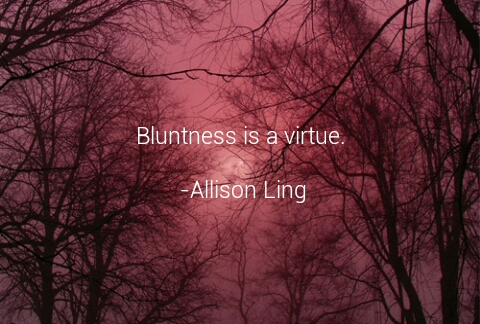 Bluntness is virtue