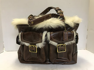 Coach Shearling Trimmed Shoulder Bag