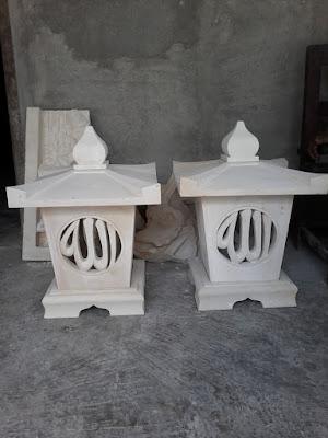 Lampion batu alam motif kaligrafi