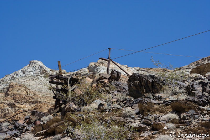 The remains of a tram station. Here the tram buckets would switch cables/directions and head down canyon.
