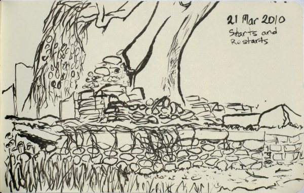 Sketch of the ruined foundation of an old cabin.
