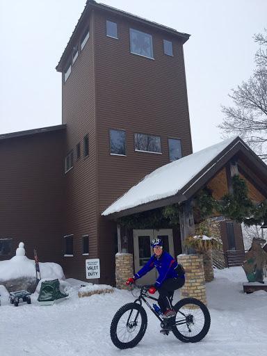 Janelle Jurek testing out one of the new Maplelag fat bikes