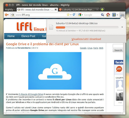 Firefox 14  - il nuovo download manager