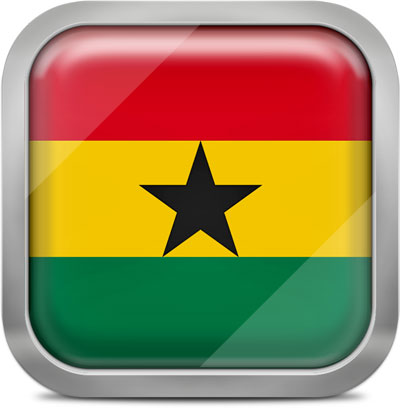 Ghana square flag with metallic frame