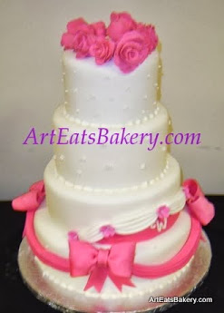 Four Tier White Fondant Wedding Cake Design With Hot Pink Sugar Flower Roses Monogram Edible Bows And Draping