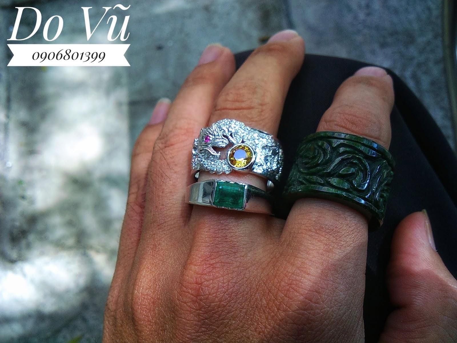 Nhẫn nam bạc 925 xi vàng trắng, đá quý thiên nhiên ( 15/04/20, 04)