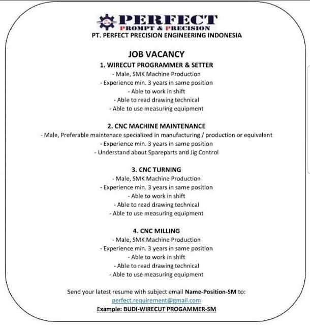PT Perfect Procision Engineering Membuka Lowongan Kerja Baru