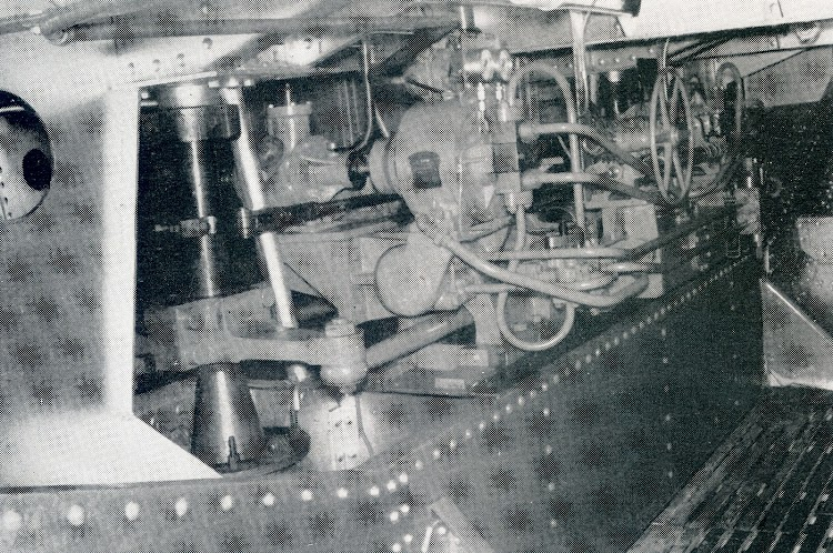 A view in the steering flat. The three-cylinder air motor can be seen on the left. From THE MARINE ENGINEER AND NAVAL ARCHITECT.jpg