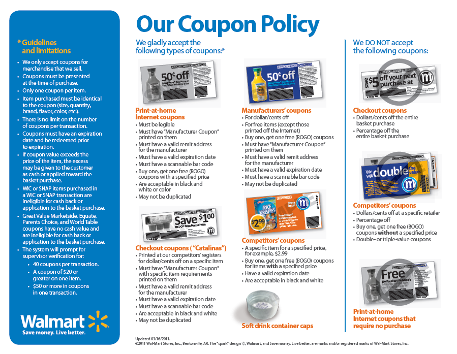Walmart coupon policy for overage