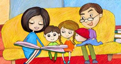 Znalezione obrazy dla zapytania rodzina czyta dzieciom