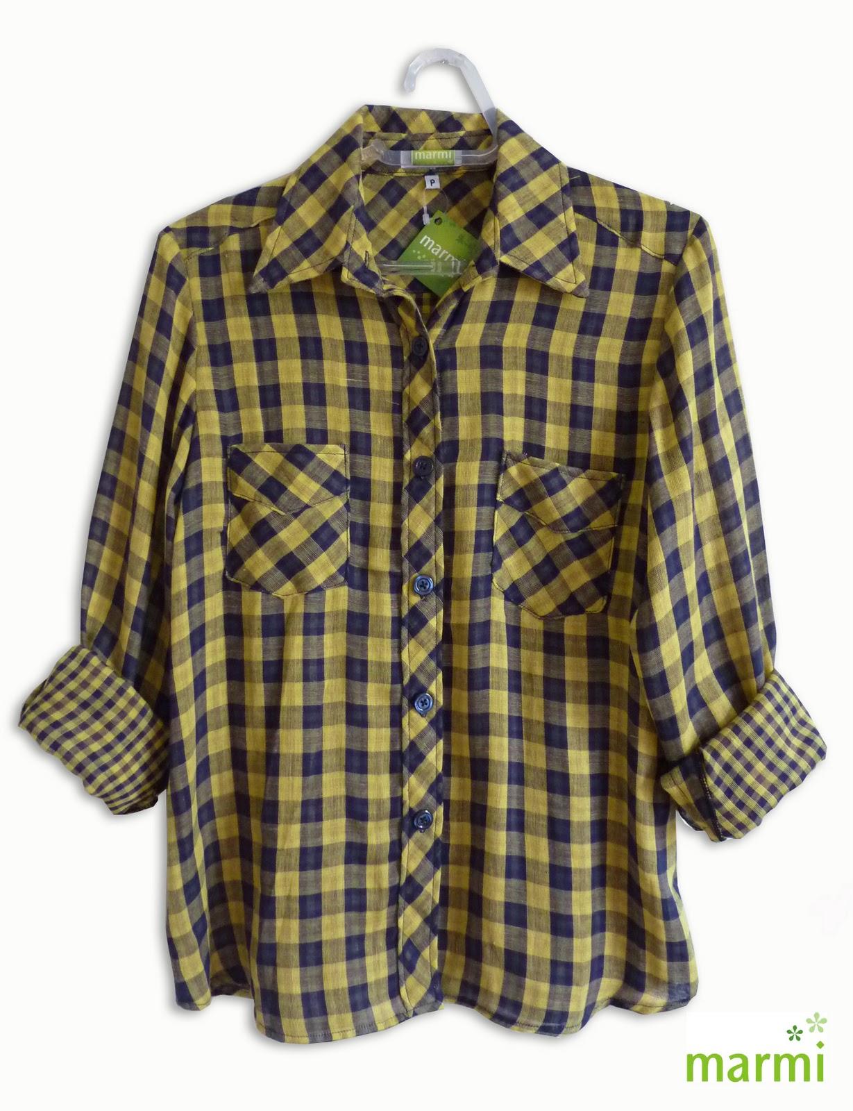 Camisa xadrez gaze amarela. Mais uma cor linda chegando para alegrar os  primeiros dias de frio! Uma mistura perfeita de amarelo e azul marinho em  tecido ... 597f42fb838
