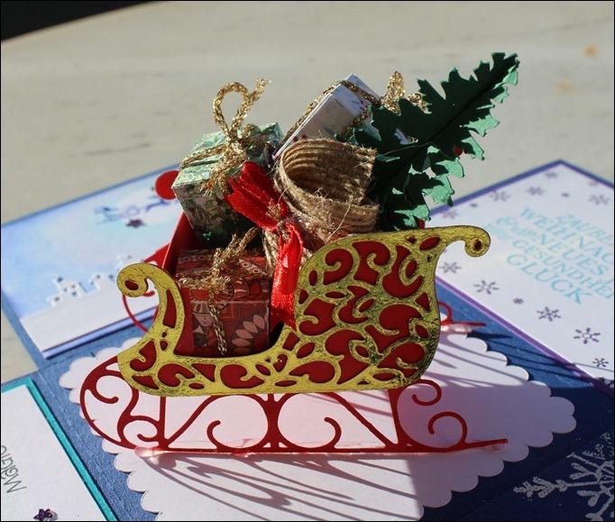 Explosion Box Weihnachten Christmas Santas Sleigh Stampin Up Weihnachtsschlitten Silent Night 02