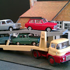Austin FH Car Transporter, inspired by a painting by Mike Jeffries, a typical looking transporter of the 60s. Parts Used.. BMC2 cab, CH1 chassis, W3 wheel set, trailer is from EFE.