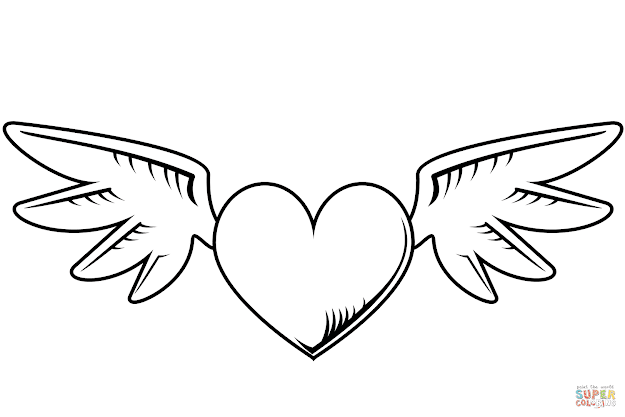 Click The Heart With Wings Coloring Pages