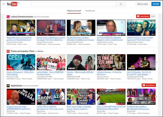 YouTube página  de inicio
