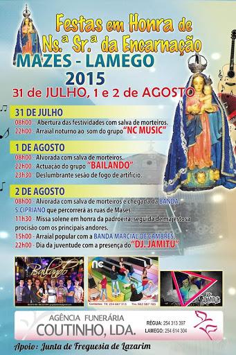 Programa das Festas em Honra de Nossa Senhora da Encarnação - Mazes - Lamego - 2015