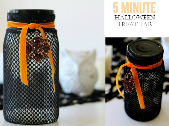 Black Lace Stocking Halloween Jar