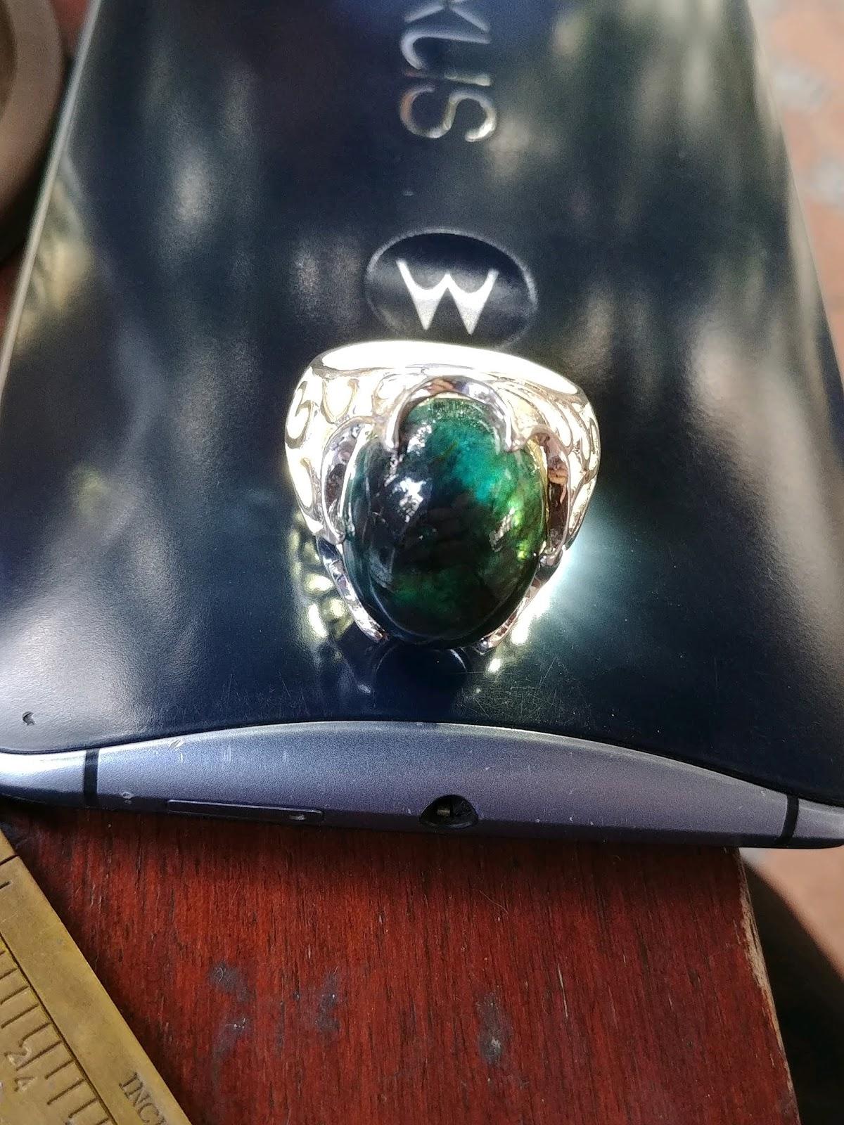 Nhẫn nam đá Sapphire thiên nhiên hàng Phan Thiết, bạc 925