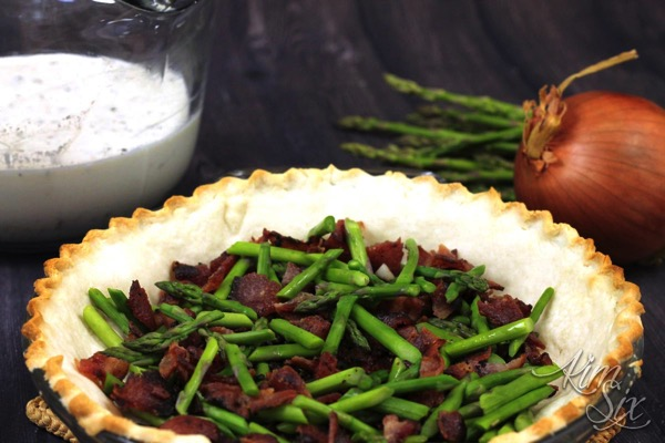 Bacon and asparagus quiche