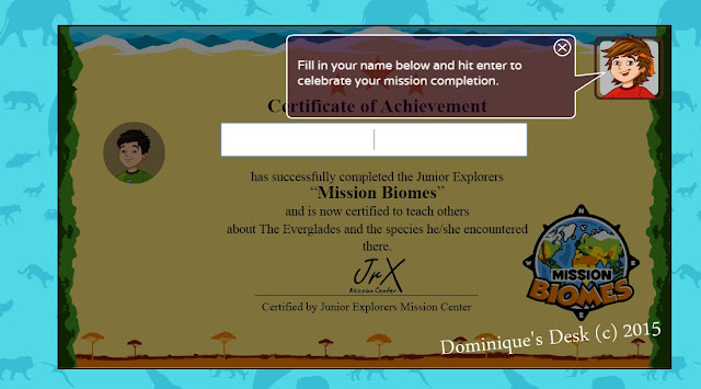 The printable certificate which you can print out when the mission is completed