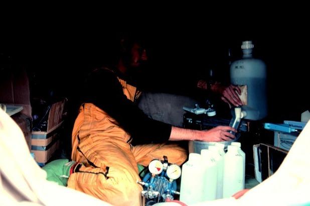 John Priscu filters water for 15N experiments at Lake Vanda, 1984-1985 season.