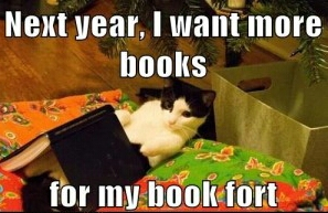 Image result for cat in book fort