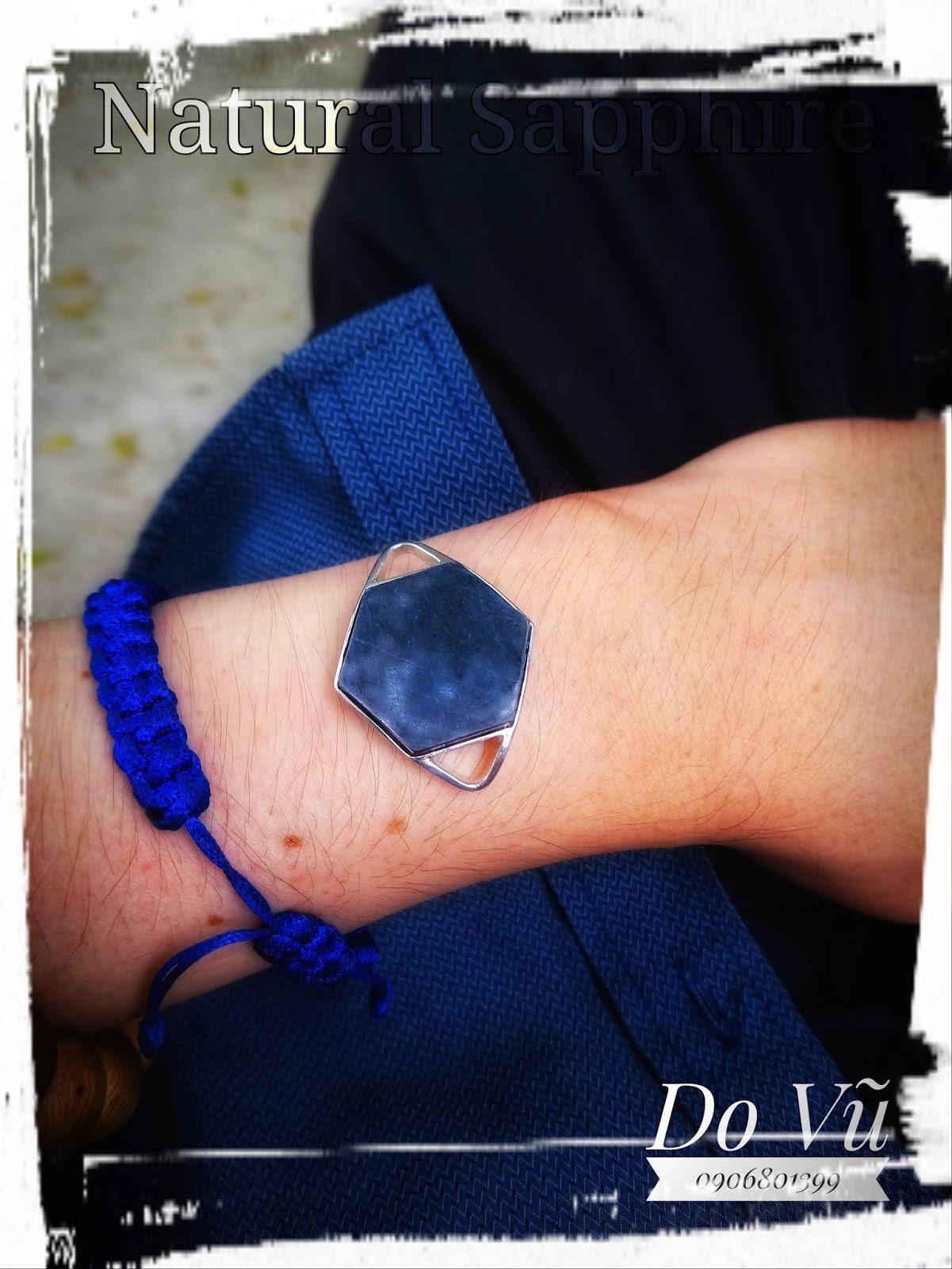 Đá quý Sapphire Quỳ Hợp, Nghệ An Việt Nam thiên nhiên 100%, chế tác mặt lắc tay lục giác