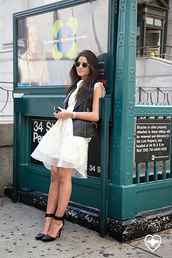 Lainey Hedaya; Fashion Blogger; Michael Kors jacket; Giambattista Valli dress; Jerrery Campbell shoes;