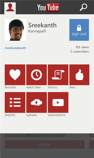 Windows Phone YouTube App