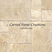 "Tuscany Beige Travertine Pavers, 8"" x 8"" x 3cm.  Tumbled Finish."