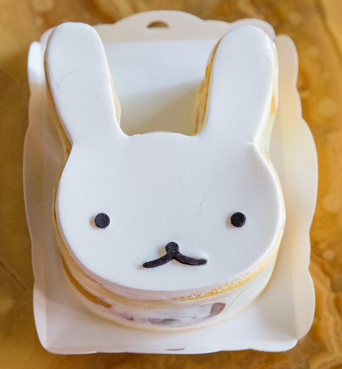 overhead photo of a bunny shaped cake