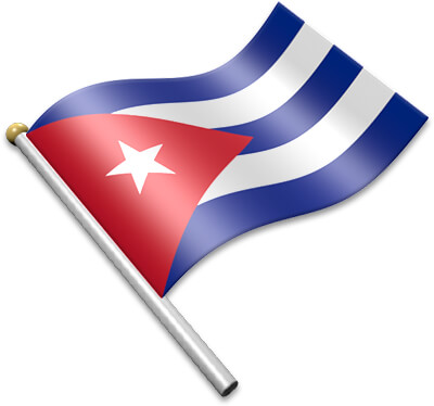 The Cuban flag on a flagpole clipart image
