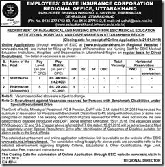 ESIC Uttarakhand Notice 2019 indgovtjobs
