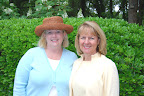 Melanie Clardy and Ann Thompson, both hostesses in the Marshall garden.