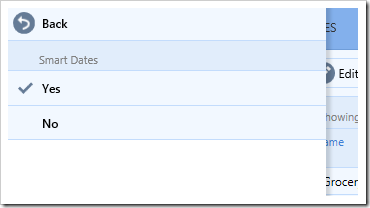 Enabling or disabling Smart Dates from the Settings panel.