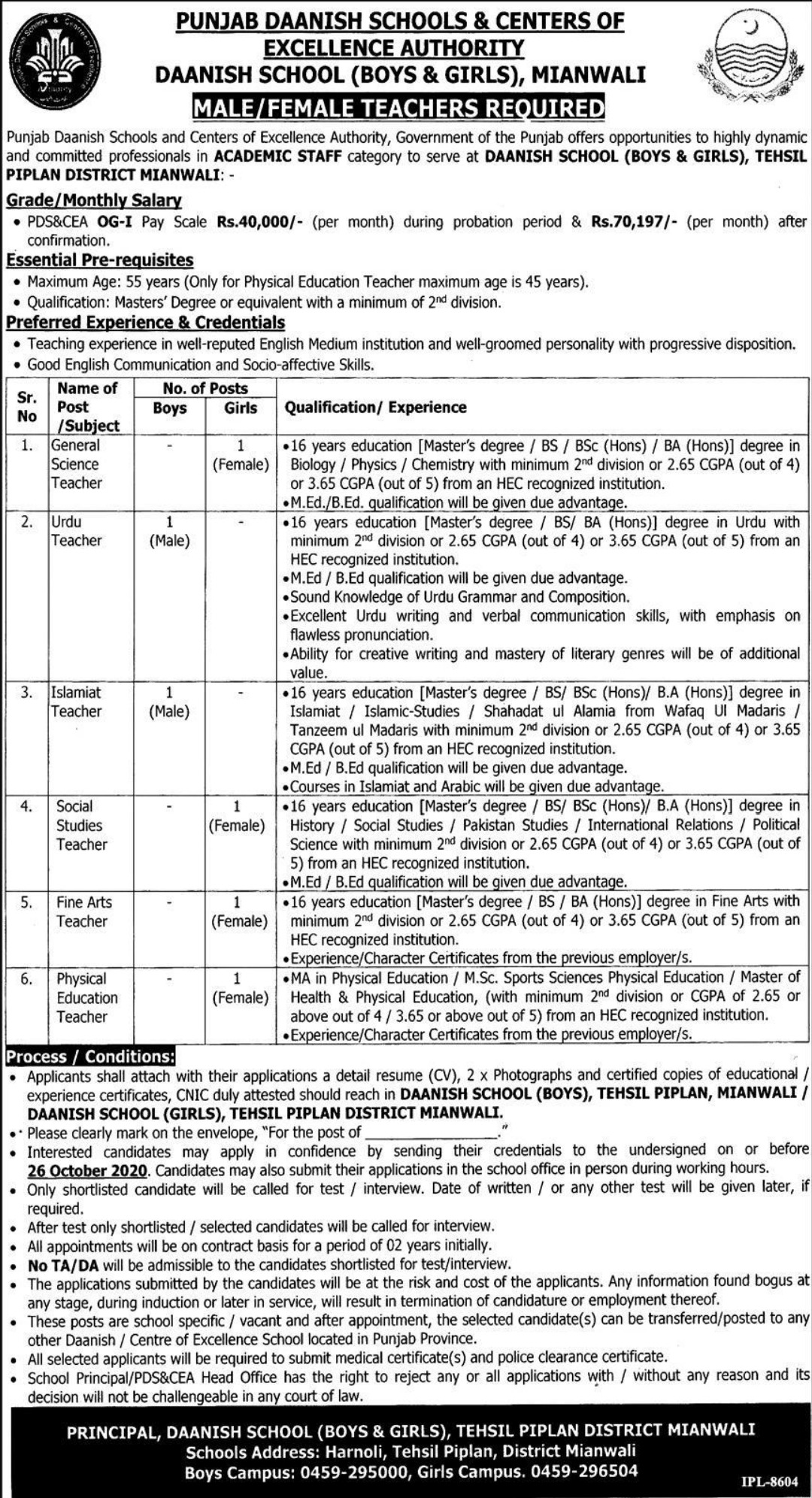 Punjab Daanish Schools & Centers of Excellence Authority Jobs October 2020