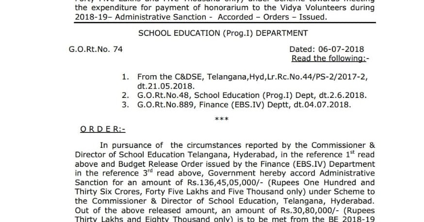 TS EDUCATION SITE: Government issued the honorarium of 2018