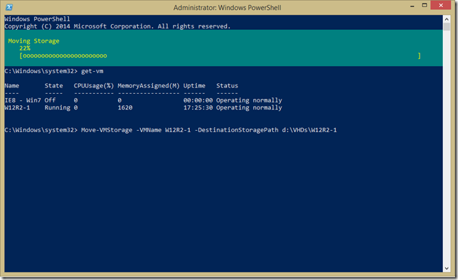 PowerShell console showing Move-VMStorage with progress
