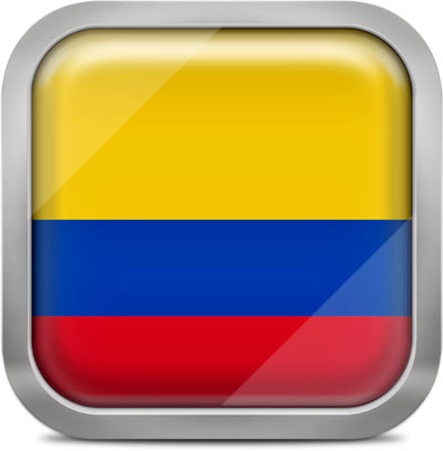 Colombia square flag with metallic frame